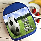 Personalised Football Pitch St474 Blue Nursery Childrens School Lunch Bag Cool Box Insulated Gift
