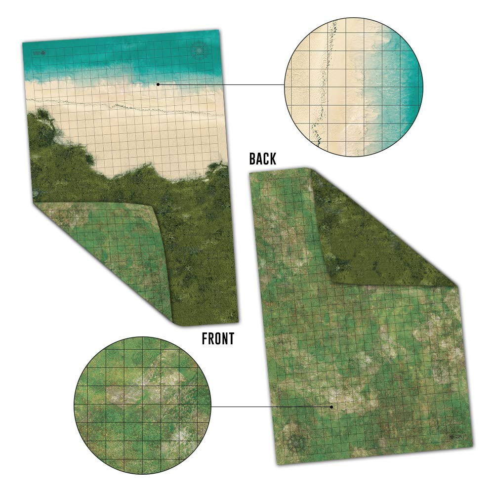 Battle Grid Game Mat - 2 PACK DOUBLE SIDED 36 x 24 - Portable DND RPG Table Top Role Playing Map - Dungeons and Dragons Starter Set - Tabletop Gaming Paper - Reusable Figure Board Game by Melee Mats (Image #7)
