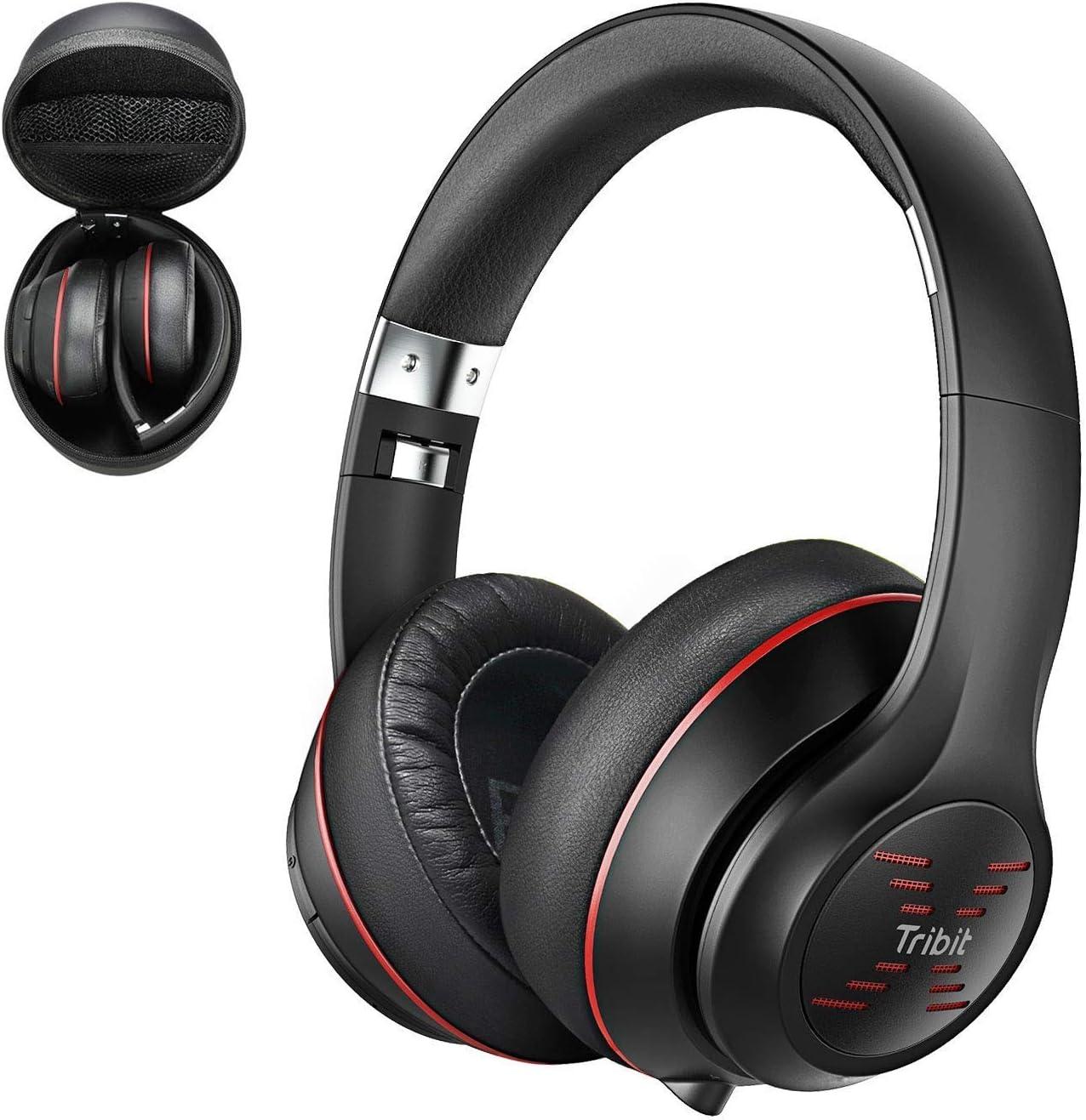 Auriculares Bluetooth Tribit XFree Tune-Auriculares inalámbricos con hasta 40 Horas de reproducción. Sonido estéreo de Alta fidelidad con potentes Graves, micrófono Incorporado, Negro/Rojo