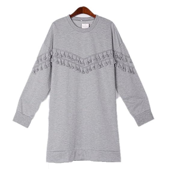 Eloise Isabel Fashion Mulheres Hoodies Vestido Solto Moletons Cinza Borla Do Vintage O-pescoço Camisola