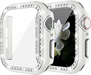 Goton Bling Case with Tempered Glass Screen Protector Compatible with Apple Watch 40mm Series 6 5 4 SE, Diamond Rhinestone Full Protective Cover for iWatch Series 6/5/4/SE 40mm Girl Women - White/S