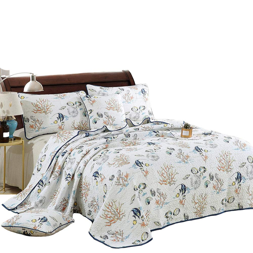 Ruixueキルトカバーセットキングサイズ、コットンキルト風ベッドスプレッドセットKing Coverlet 3 - Piece 1キルト、2ピロー寝具セット 90