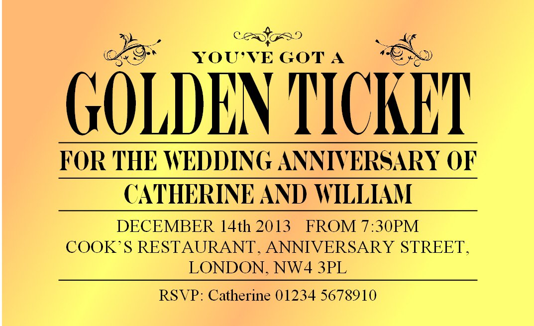 50 ANNIVERSARY PARTY INVITATIONS. Golden Ticket Personalised ...