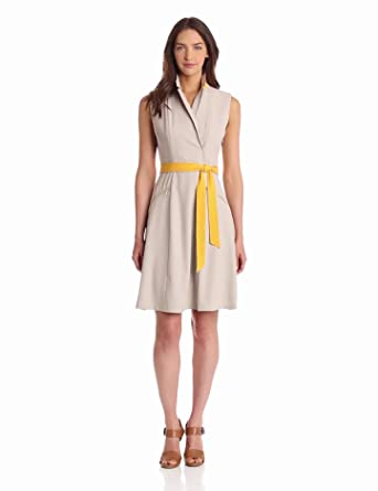 Calvin Klein Women's Shirt Dress With Zipper Detail, Khaki, 6