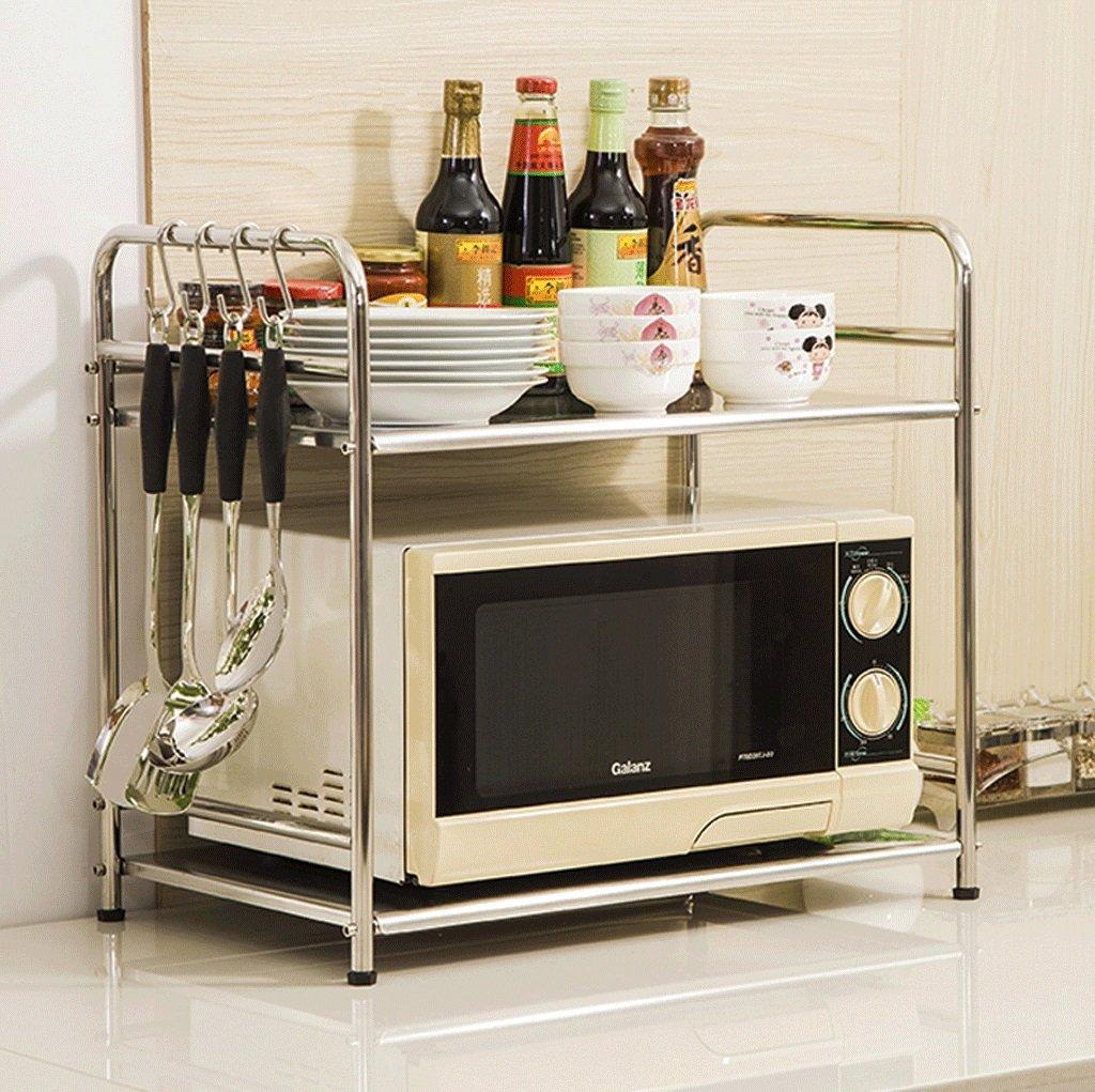 DGF Stainless Steel Microwave Rack, Kitchen Storage Rack L53cm W34cm H55cm