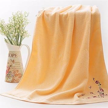 Colorido adulto toalla de baño de algodón para bordar una toalla suave y absorbente, amarilla: Amazon.es: Hogar