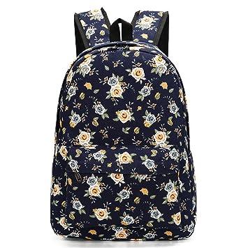 Retro diseño floral mochilas para adolescentes mochilas escolares estilo mujeres lona flor viajes mochilas 1296a: Amazon.es: Equipaje