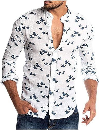 Camisa Hombre LMMVP Slim Fit Basic Diseño Manga Larga Camisa para Hombre Impresión Camisa Hawaiana Botón Casual Verano Playa Funny Hawaii Shirt: Amazon.es: Ropa y accesorios