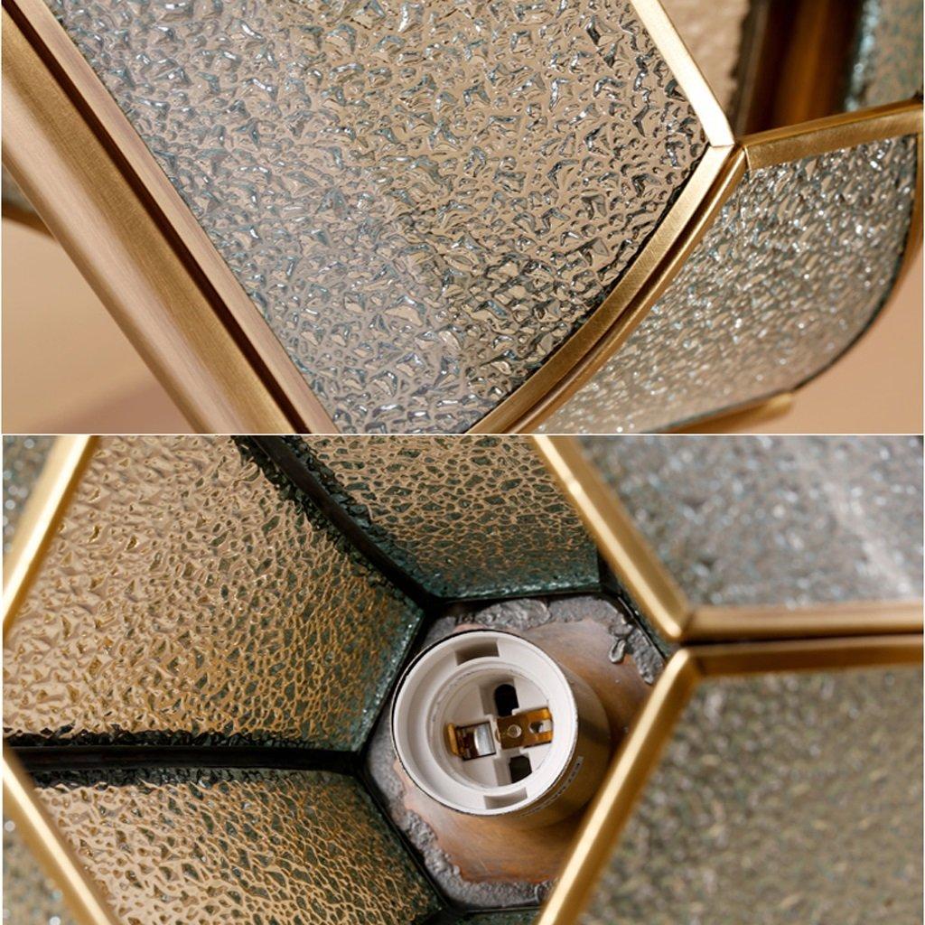 LOFAMI European Style Retro Luxury Copper Chandelier Glass Lampshade E27 Pendant Lamp Living Room Corridor Cafe Study Decoration Ceiling Lamp, 28 32CM by LOFAMI (Image #5)
