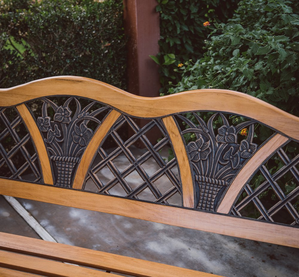 Outdoor Garden Bench Wood and Metal Furniture Deck Seat w/ Flower Pattern on Back Ideal for Backyard, Porch or Gazebo.