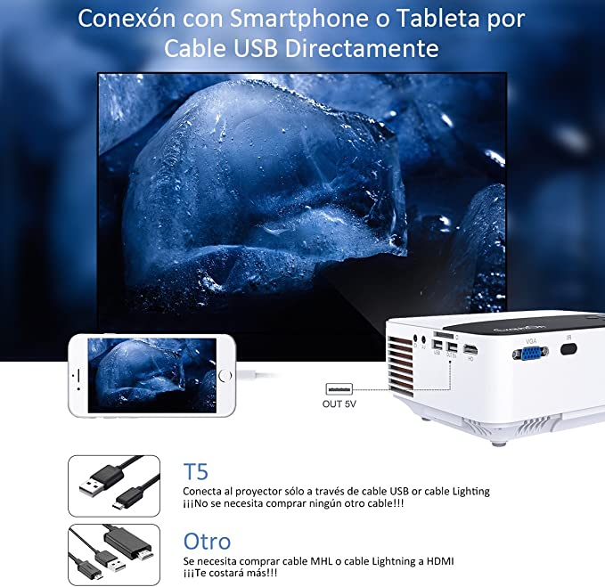 ExquizOn Proyector Portátil, T5 2000 Lumens Mini Proyector LCD ...