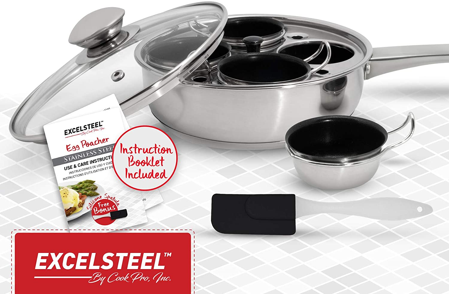 NEW Non Stick Egg Poacher Excelsteel 18//10 Stainless 4 Cups Pan Lid Handle