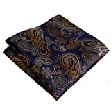 "shlax&wing Men's Hanky Paisley Navy Blue Gold 12.6"" Multicolored"