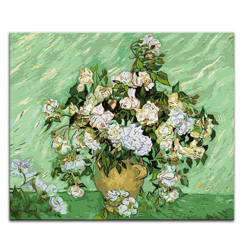 Pintura de Bricolaje por números Pinturas de Vincent Van Gogh la Noche Estrellada Imágenes de Arte de impresión Abstracta por números con Colores, Hm3934,40X50 sin Marco