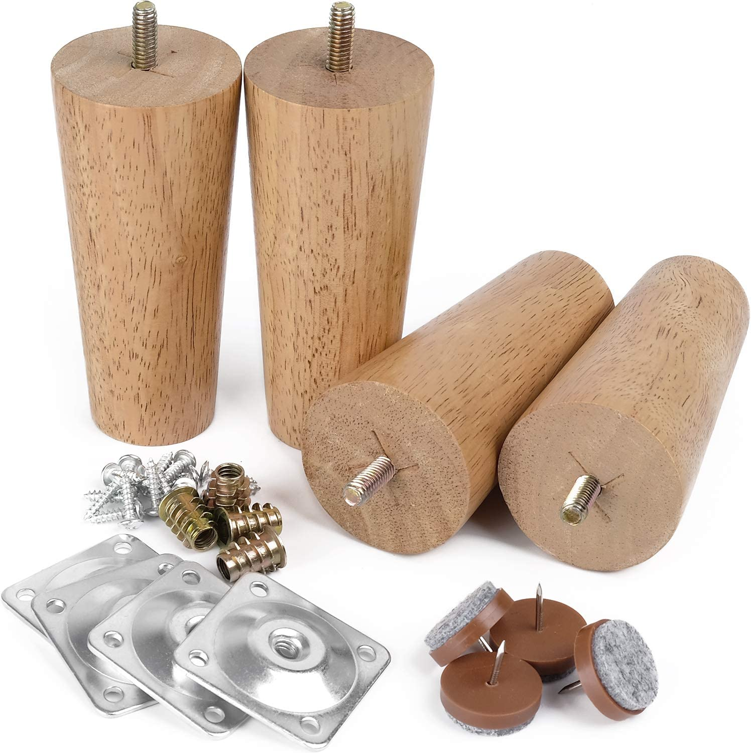 """Furniture Legs Sofa Legs 5"""" Full-Set Chair Legs Tapered Wood Legs 5/16"""" Thread for Furniture Sofa Couch Ottoman Coffee Table Bench Chair, Replacement Leg w/Leg Mounting Plates &Felt Floor Protectors"""