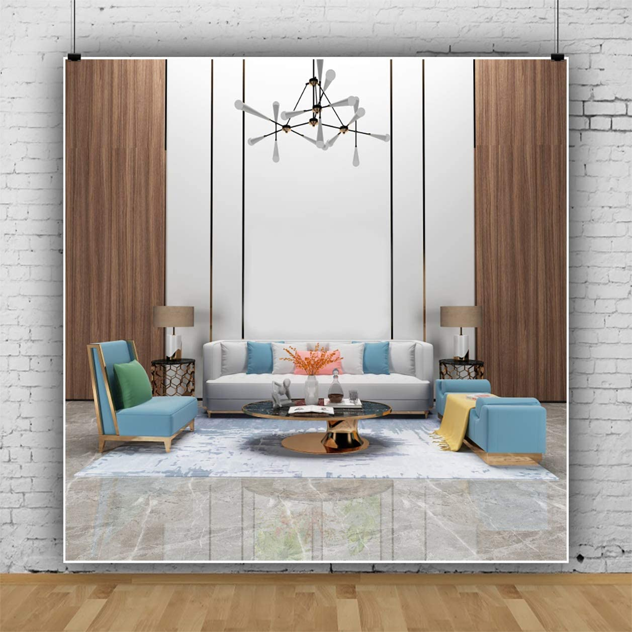 YEELE Fashion Living Room Backdrop 9x9ft Stylish Furnitures Sofa Tea Table Photography Background Modern House and Home Design Cozy Apartment Kids Adult Portrait Photo Studio Props Wallpaper