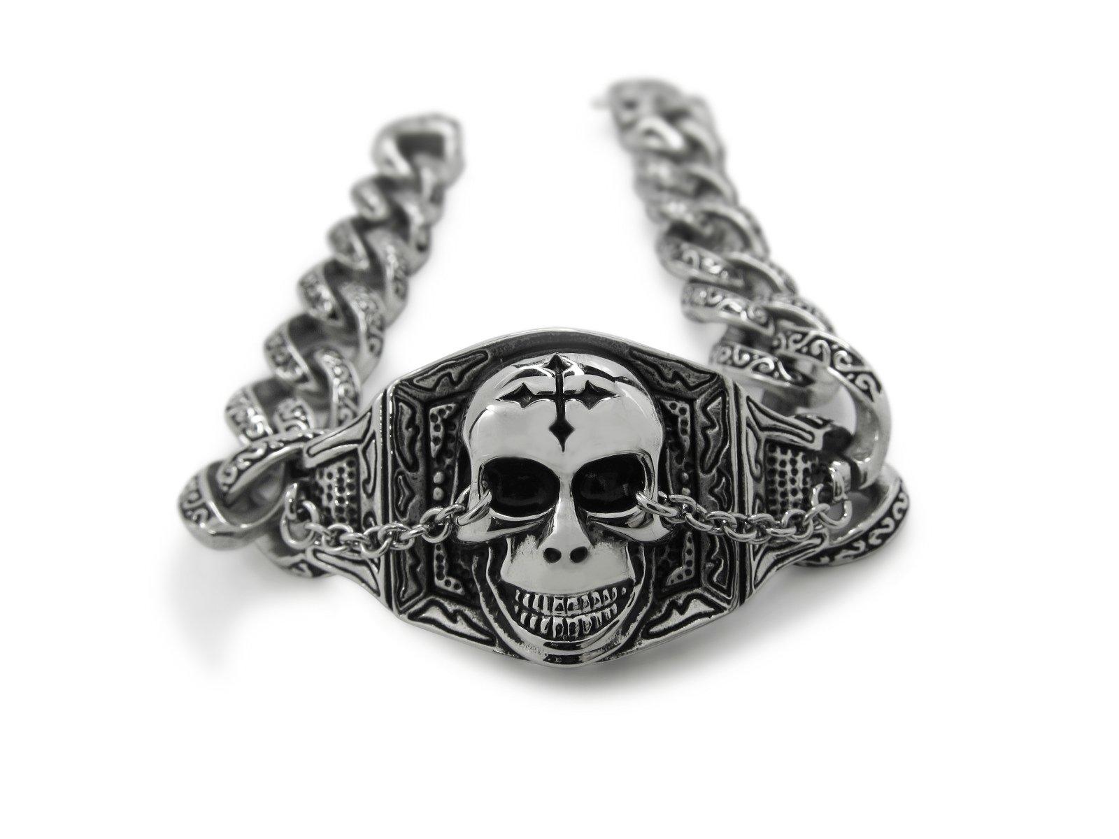 Men 316L Stainless Steel Heavy Cross Skull Devil Bracelet for Harley Motor Biker TB30