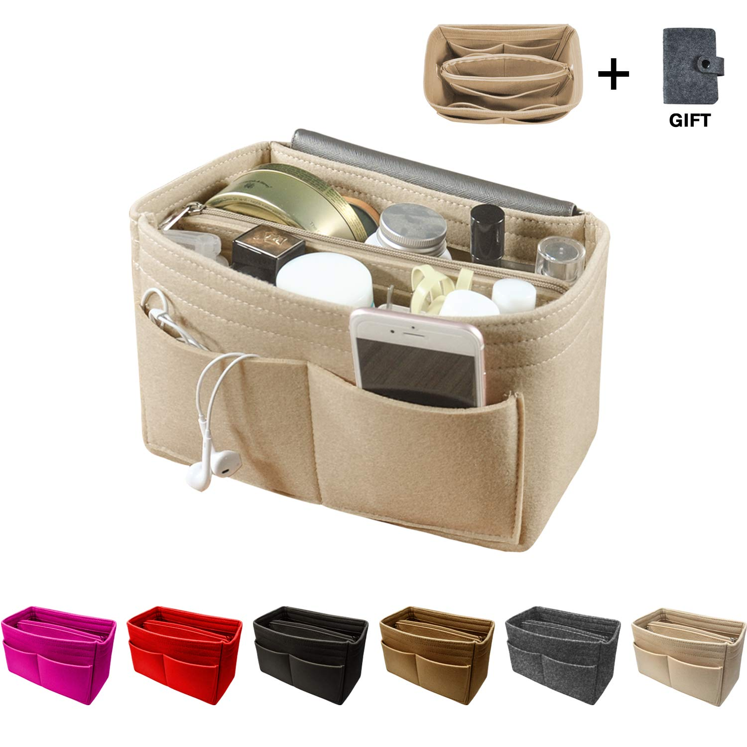 OMYSTYLE FASHION Purse Organizer Insert, Handbag & Tote Organizer, Perfect for Speedy Neverfull and More,Beige Large
