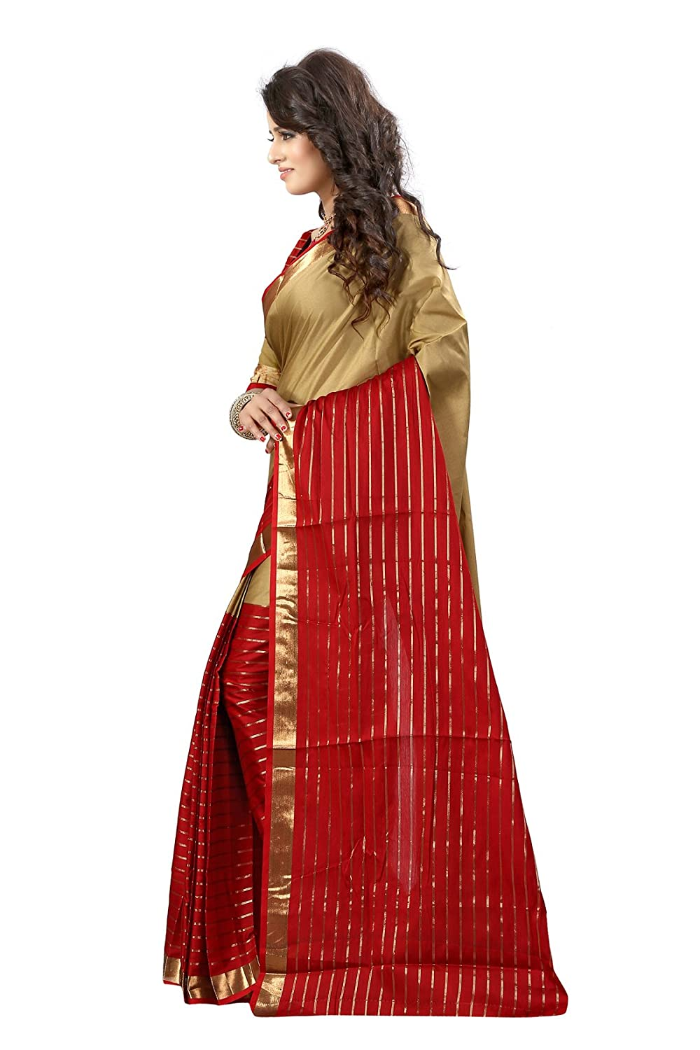 Beige and Maroon Color Banarasi Cotton with Blouse Piece Saree