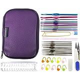 1Packet(22PCs) Aluminum Crochet Hooks Knitting Kit Needlework Random Color Silver Tone Sewing Needles With Ruler Scissors Tools