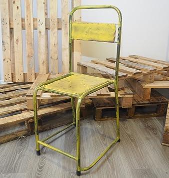 Vintage Recycl Industriel En Mtal Chaises Empilables 6 Couleurs Jaune 88x38x37