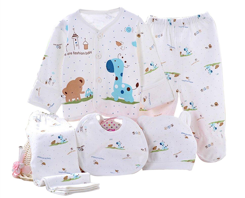 Kris&Ken 3 Colores Bebé 5 Piezas Canastilla Unisex Algodón Ropa Set De Regalo Para Recién Nacido