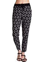Woman White Abstract Diamond Print Rayon Drawstring Black Pants