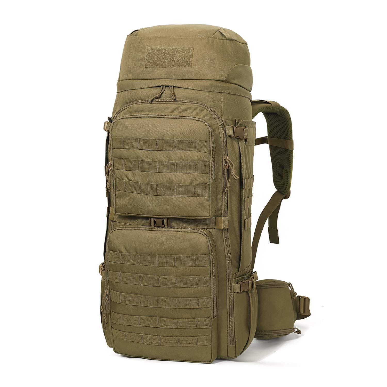 Mardingtop 75L Molle Hiking Internal Frame Backpacks with Rain Cover (M6312-Khaki-75L) by Mardingtop