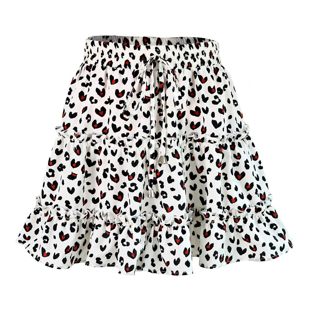 Womens Summer Casual Boho High Waist Ruffled Floral Print Beach Short Skirt White