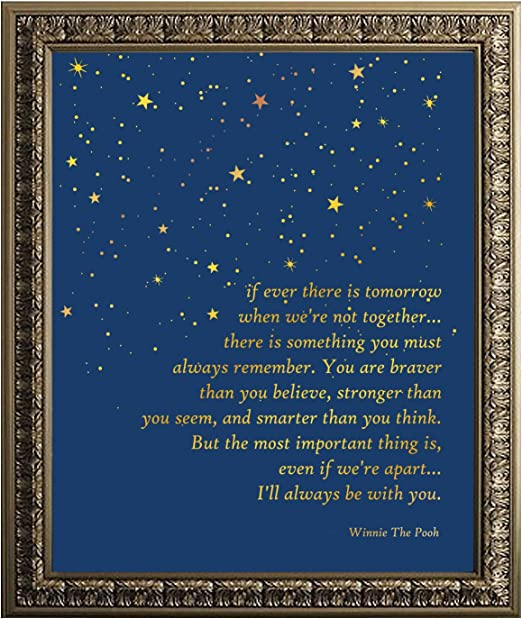 com winnie the pooh quote gold foil print inspirational