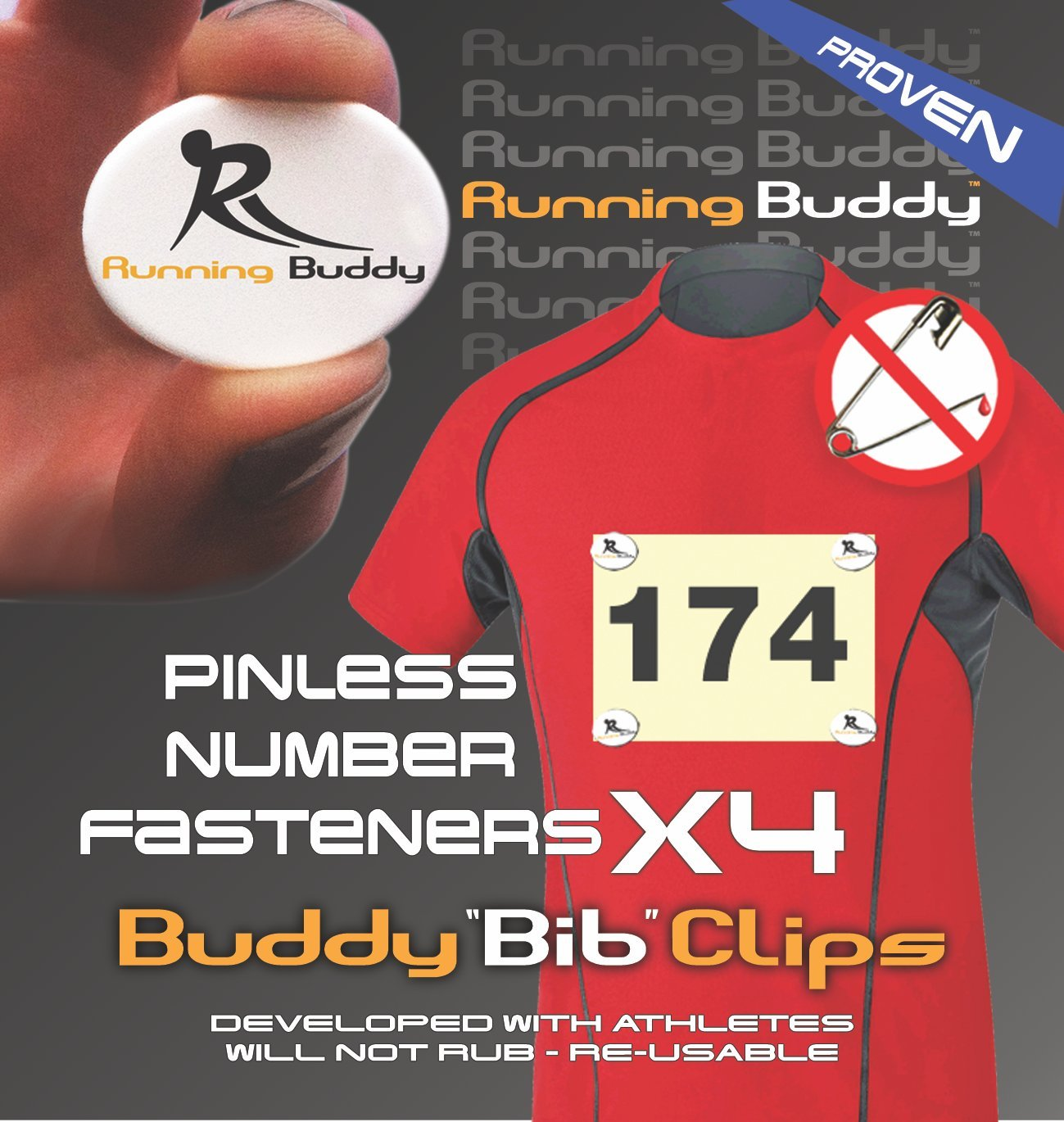 Running Buddy Highly Rated Buddy Bib Clips No Pins or Holes.Simply Snap Lock Runners Triathletes and Cyclists. No More Safety pins in Your Race Bibs