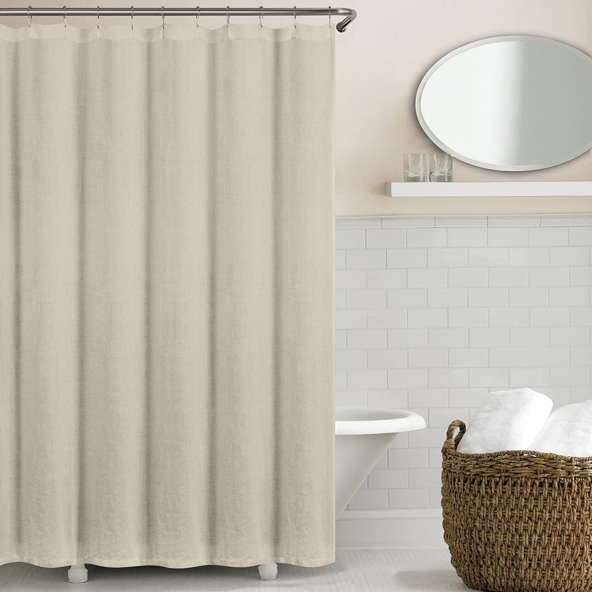 Echelon Home Washed Belgian Linen Shower Curtain, Stone