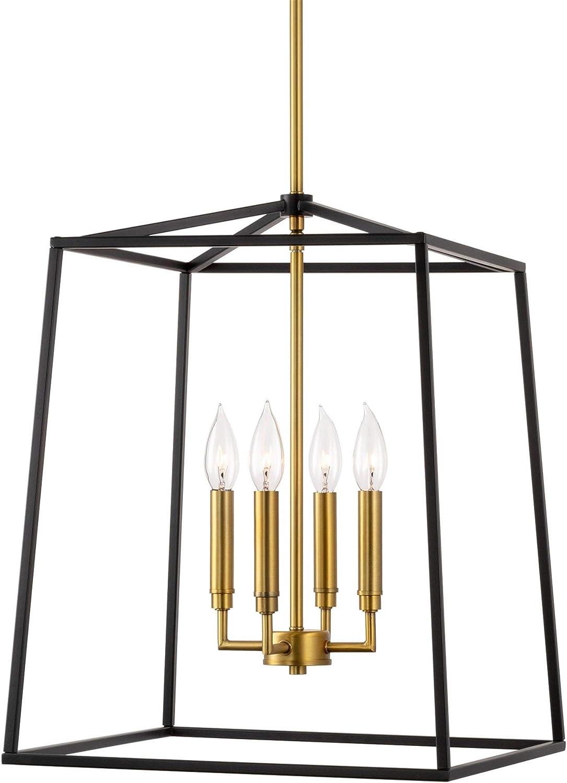 "Kira Home Bellevue 18"" 4-Light Modern Farmhouse Lantern Pendant Light, Adjustable Foyer Chandelier, Warm Brass Accents + Black Finish"