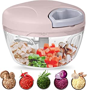 Food Chopper, 500ML Hand-Powered Portable Food Processor, Manual Vegetable Slicer and Dicer, Pull Chop Mechanism Cutter for Garlic, Onion, Vegetable, Salad, Pepper (Pink)