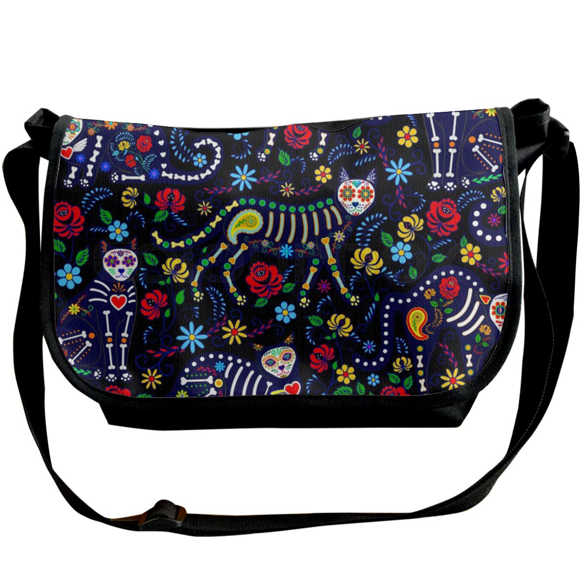 Futong Huaxia Cat Skull Travel Messenger Bags Handbag Shoulder Bag Crossbody Bag Unisex