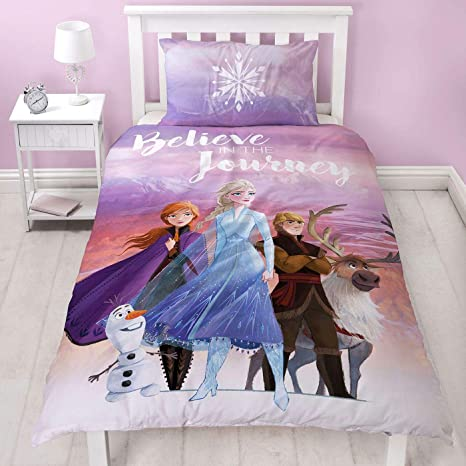 Frozen 2 Disney Single Polycotton Duvet Cover Officially Licensed Reversible Two Sided Bedding Olaf Anna Elsa Kristoff And Sven Design With Matching Pillowcase Purple Home Kitchen
