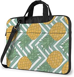 Fresh Fruits,White and Blue Striped Pineapple Laptop Case 13 Inch Carrying Case with Strap