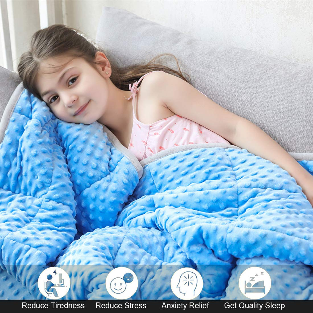 JHMENG Weighted Blanket for Kids(5lbs for 30-70 lbs) Heavy Blanket Soft Minky with Nontoxic Glass Beads for Calm Sleeping(Blue-Minky Cover,36''x48'' 5lbs) by JHMENG