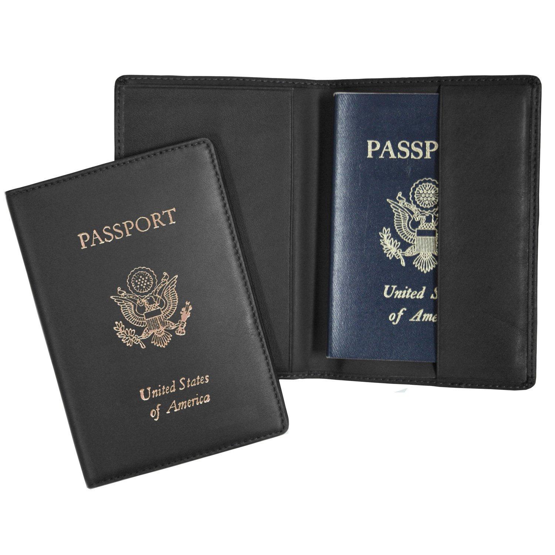 Royce Leather Foil Stamped Passport Jacket (Black)