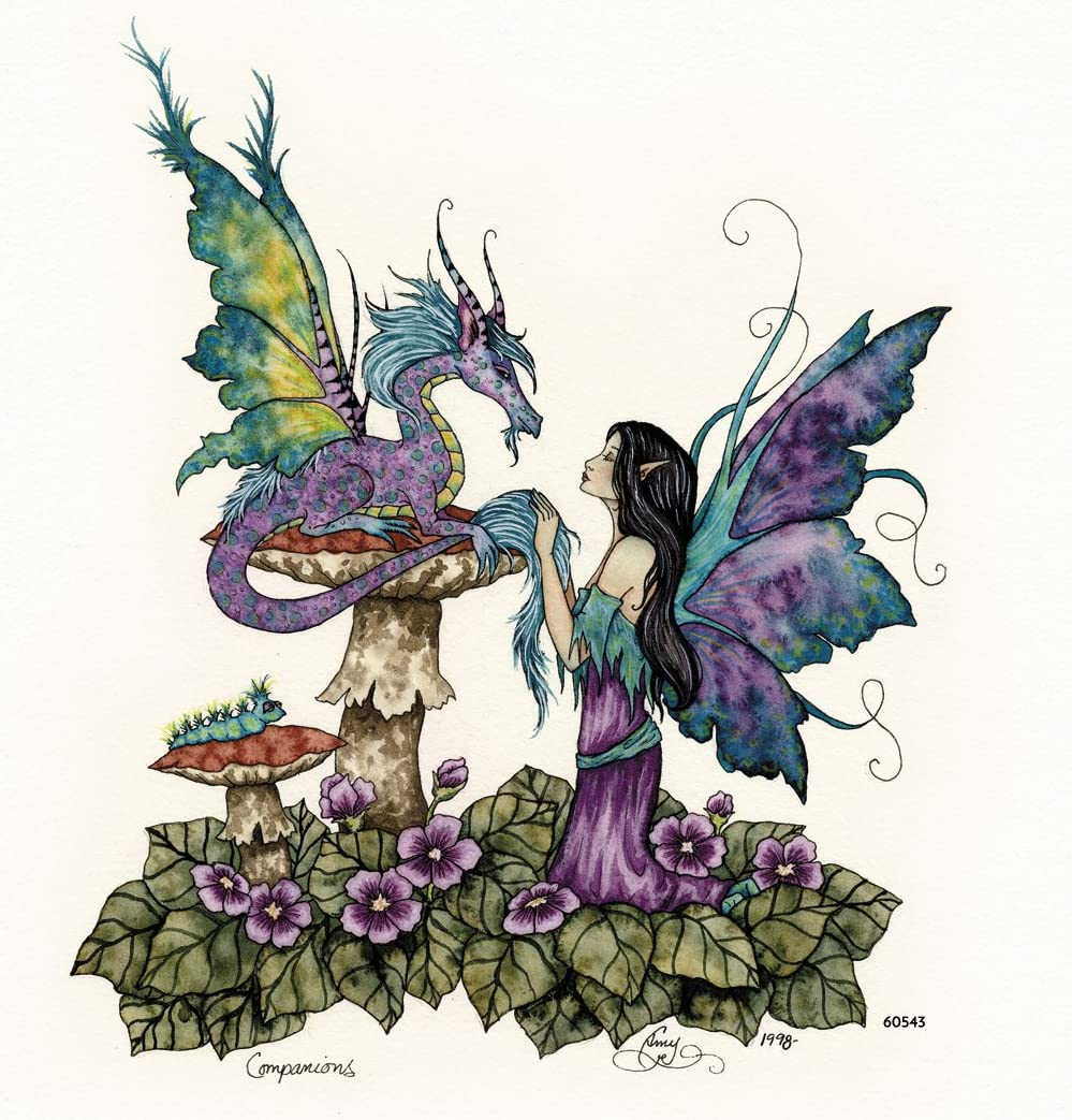 Tree-Free Greetings Refrigerator Magnet, 3.5x3.5 Inches, Companions Dragon and Fairy by Amy Brown (60543)