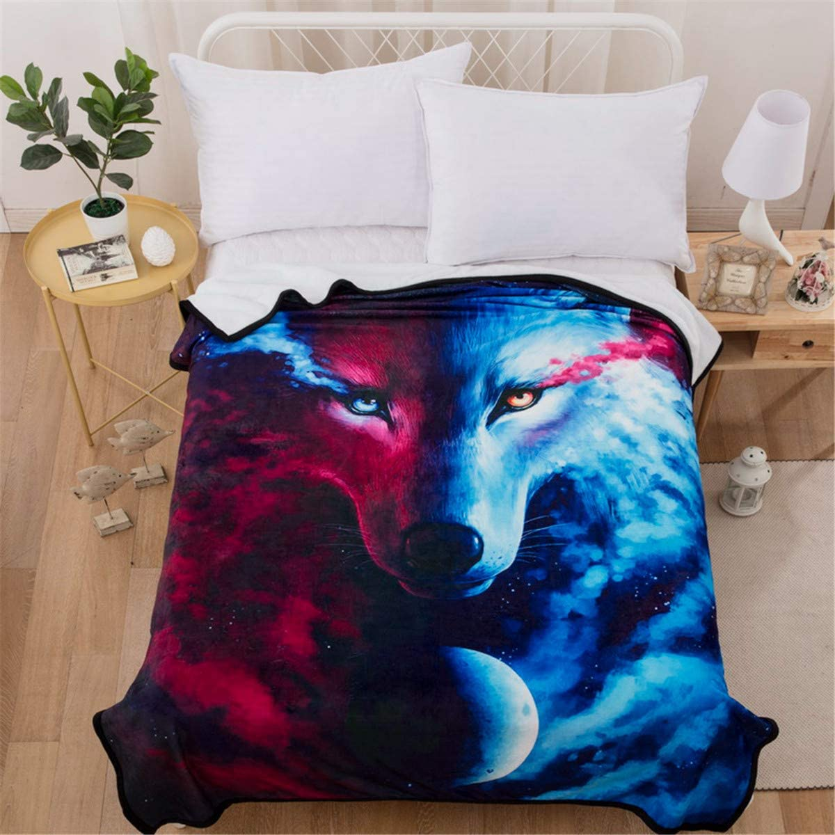 "WONGS BEDDING Soft Wolf Blanket 3D Animal Star Wolf Pattern Printed White Fleece Blanket for Kids Boys Adults Lightweight Warm Reversible Throw Blanket for Couch and Bed Twin Size 60""x80"""