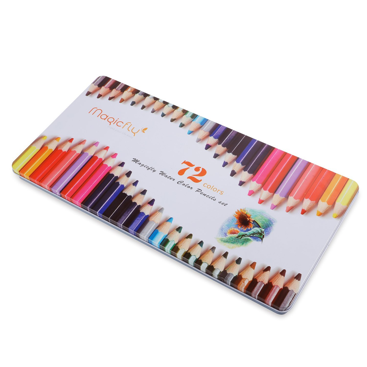Magicfly 72 Colored Pencils Set Premier Soft Core Watercolor Pencils with 2 Brushes and Metal Tin Case, Bonus Pencil Sharper by Magicfly (Image #7)