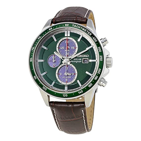 89d9e93924cb Seiko Solar Chronograph Green Dial Mens Watch SSC501  Amazon.ca  Watches