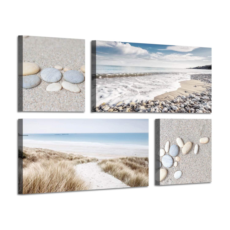 Seaside Scene Canvas Wall Art: Stone & Path on Beach Sand Giclee Artwork Painting on Canvas for Wall Decor(12''x12''x2panel+24''x12''x2panel)