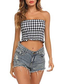 dcb6cf51dbd Women s Sexy Strapless Elastic Solid Smocked Bandeau Tube Crop Tops ...