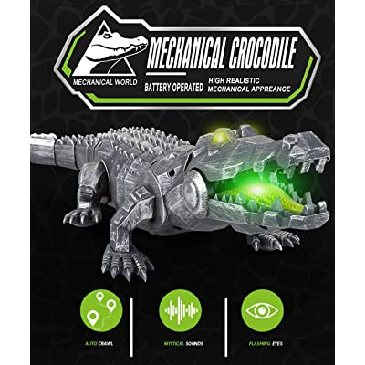 "18.5"" Large Remote Control Crocodile Infrared Electric Mechanical Crocodile Walking Crocodile Body with Lights Sounds for 6 Year Old+: Toys & Games"