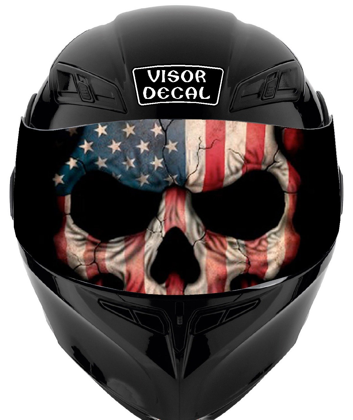 V33 American Flag Skull VISOR TINT DECAL Graphic Sticker Helmet Fits: Icon Shoei Bell HJC Oneal Scorpion AGV Sign Factory