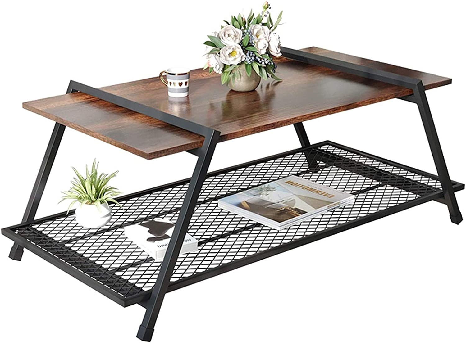 RSBCSHI Industrial Coffee Table, with Storage Shelf for Living Room Wood Look Accent Furniture Large Storage Space, Easy Assembly, Rustic Brown