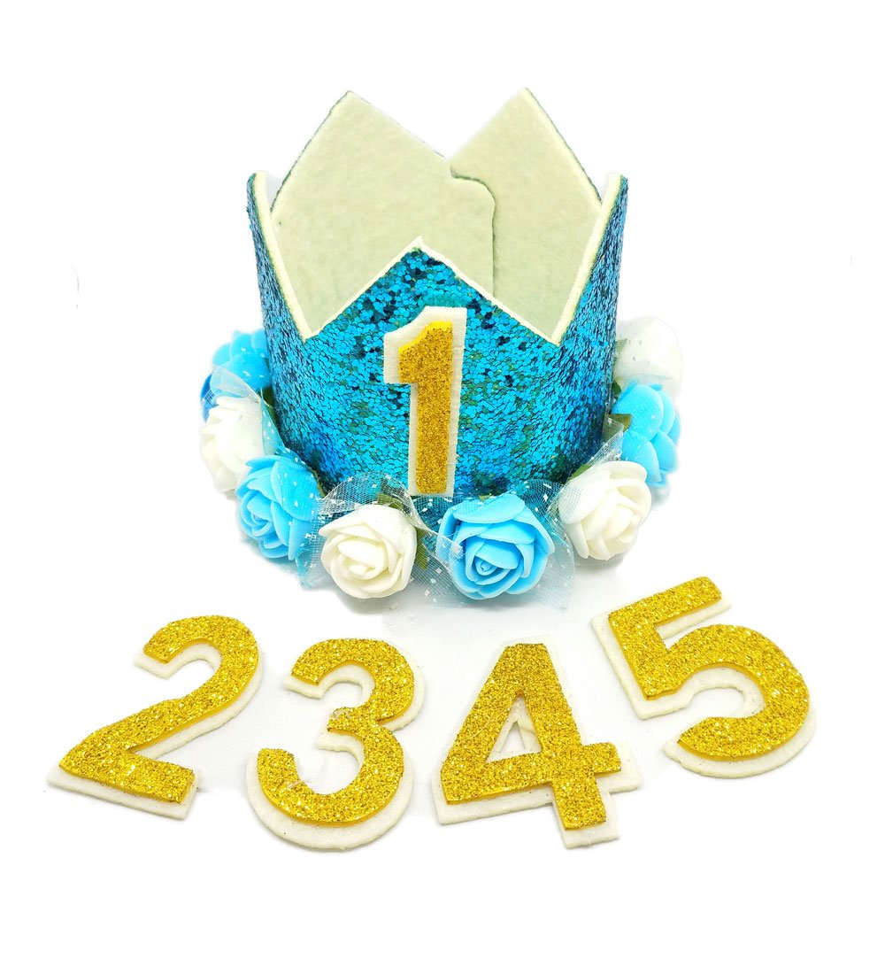 PET SHOW Crown Dog Birthday Hat for Pets Birthday Party Cat Headband Hats with Figures 1-9 Charms Party Accessories Pack of 1(Blue)