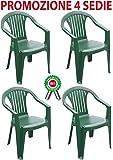 4 Pz Poltrona sedia monoblocco Atlandite in dura resina di plastica verde impilabile con braccioli